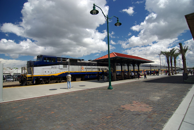 The Double Decker Train Arives at the Amtrack Station in Fresno CA
