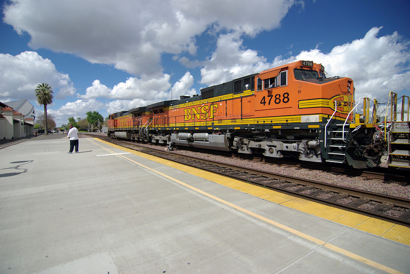 The enormous Freight Train pulls out from the Amtrak Station in Fresno CA (1)