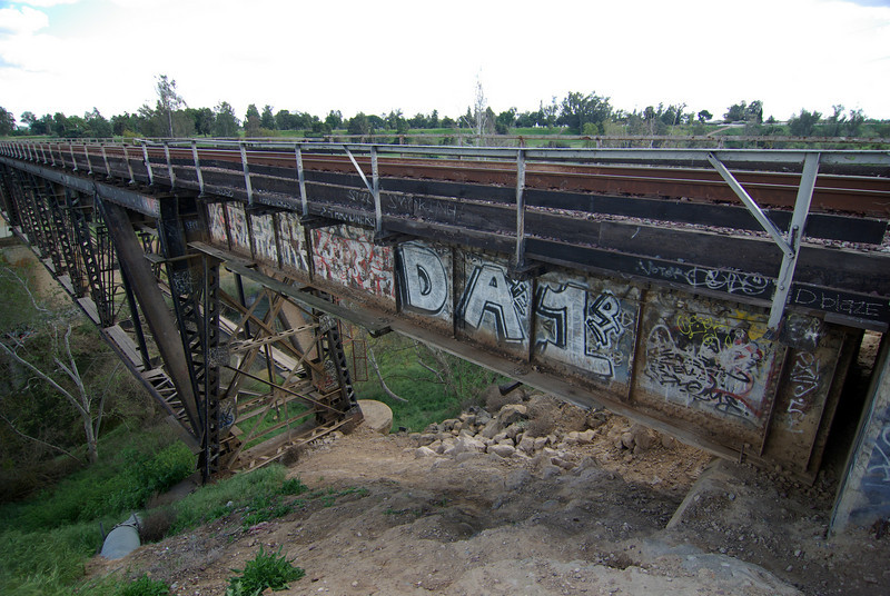 The artwork along the BNSF Bridge over the San Joaquine River in Fresno, CA