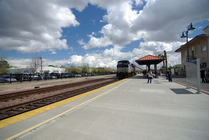 People board the South Bound Amtrak Commuter Train in Fresno, CA