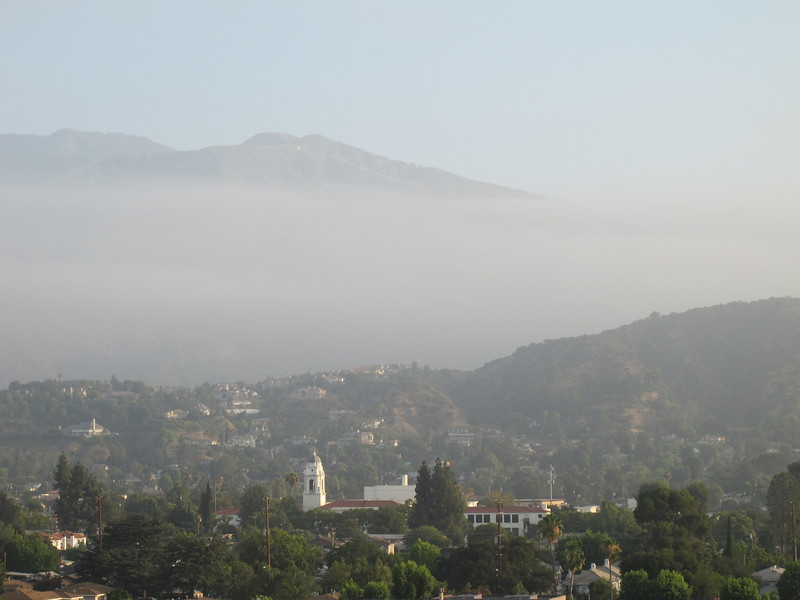 A church, fog, and the mountains.  Typical California scenery.  Marriott Courtyard Monrovia, 7-19-2010