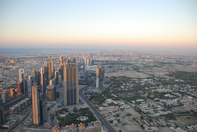 Looking onto Sheikh Zayed Road in Dubai, from the observation deck on the 124th floor of Burj Khalifa.