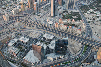 Emaar Square, Doha Street, what used to be defence roundabout, the Marooj Rotana hotel and top middle, the Dusit Hotel.
