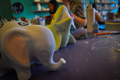 Our piggy banks pre-firing at Glazed Expressions