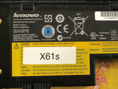ThinkpadX61S battery part number