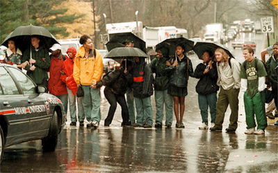 Miami University students stand across US 127 at Spring St in Oxford, Ohio during a protest Tuesday, November 10, 1998.  The students blocked the road for over an hour, causing traffic to back up. (E.L. Hubbard, Journal-News)