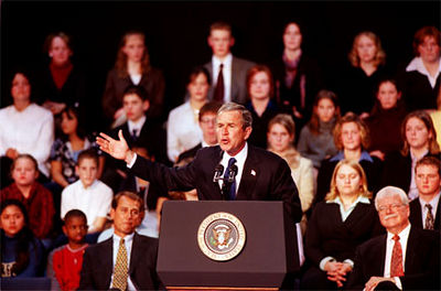 E.L. Hubbard/Journal-News<br /> President George Bush makes a point in his speech at Hamilton High School before signing the education bill.