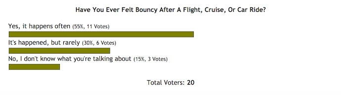Have You Ever Felt Bouncy After A Flight, Cruise, Or Car Ride? [POLL RESULTS]