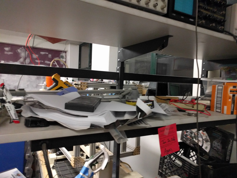 Middle shelf of electronics bench