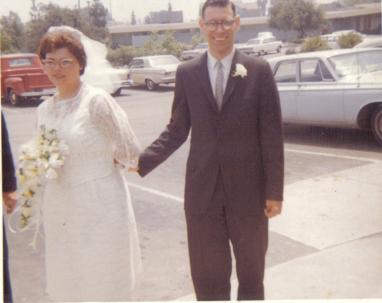 Bill Finkenstadt and Sheryl Van Etten on their wedding day, 6/5/1965.