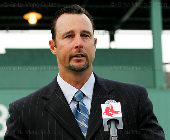 FORT MYERS, FL, Feb. 17, 2012: A teary-eyed Boston Red Sox pitcher Tim Wakefield announces his retirement from baseball after 19 Major League seasons, the last 17 with the Red Sox. (Brita Meng Outzen/Boston Red Sox)