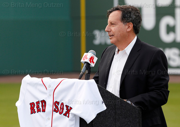 FORT MYERS, FL, Feb. 17, 2012: Boston Red Sox chairman Tom Werner speaks prior to Red Sox pitcher Tim Wakefield's announcing his retirement from baseball after 19 Major League seasons, the last 17 with the Red Sox. (Brita Meng Outzen/Boston Red Sox)