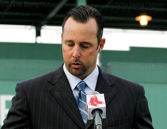 FORT MYERS, FL, Feb. 17, 2012: Boston Red Sox pitcher Tim Wakefield takes a deep breath as he announces his retirement from baseball after 19 Major League seasons, the last 17 with the Red Sox. (Brita Meng Outzen/Boston Red Sox)