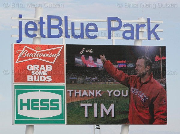 FORT MYERS, FL, Feb. 17, 2012: The video scoreboard at JetBlue Park at Fenway South pays tribute to Boston Red Sox pitcher Tim Wakefield, who announced his retirement from baseball after 19 Major League seasons, the last 17 with the Red Sox. (Brita Meng Outzen/Boston Red Sox)