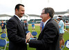 FORT MYERS, FL, Feb. 17, 2012: Boston Red Sox pitcher Tim Wakefield, left, talks with Red Sox chairman Tom Werner after  announcing his retirement from baseball after 19 Major League seasons, the last 17 with the Red Sox. (Brita Meng Outzen/Boston Red Sox)