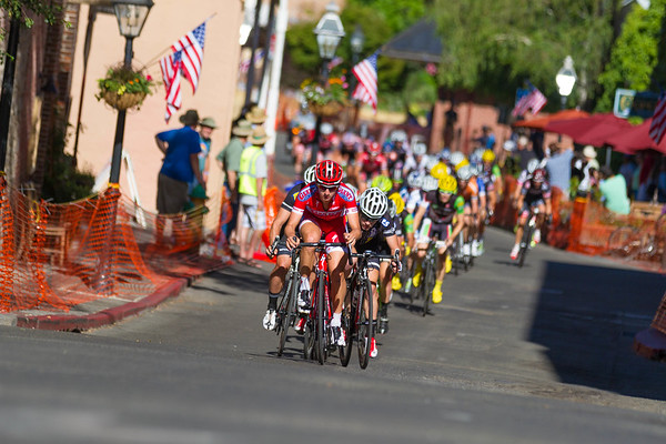Stephen Leece (California Giant/Specialized) leads the peloton up the narrow street during the Men's P/1/2 of the Nevada City Bicycle Classic.