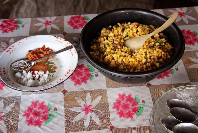 while waiting for the rain to stop, they fed us this! it was good, with super spicy fresh chili. they mentioned that this is what they eat every other day. all day.