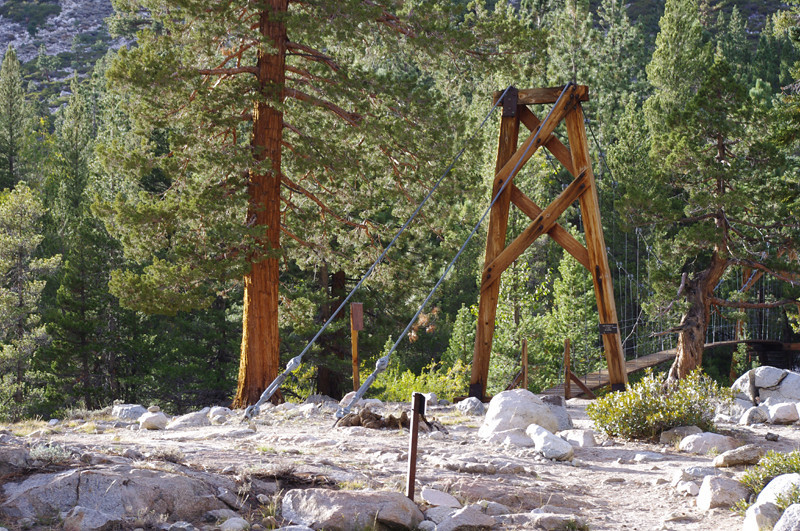fancy suspension foot bridge when we arrive at the john muir trail. it bounces vigorously when you're on it. camped here for my second night on the trail.