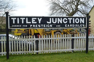 Titley Junction Station sign.