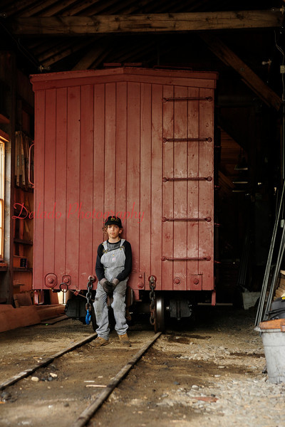 A young volunteer at Wiscasset Waterville & Farmington Railway.