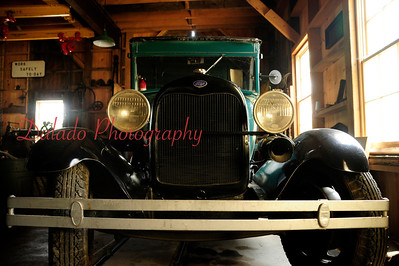 A Ford Model A at Wiscasset Waterville & Farmington Railway in Maine.