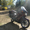 After nearly two months of preparation for a trip out west it's looking like all the pieces are in place: gear and machine and a reasonable amount of money. And the sun seems to be shining a little brighter on the bike, which I take as an omen.<br />  A few minutes after taking this photo I turn on my new GPS unit and it promptly crashes. After a quick trip to the customer service department at Best Buy I turn on a replacement unit that lights up as it should.<br />  I'm off.