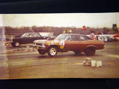 My 1968 Nova, this was taken sometime in the spring of 1970.  The car ran the 1/4 mile in DMP, ( class D-Modified Production ) at 127mph in 10.86 sec.  Not to shabby for a home built street legal car.