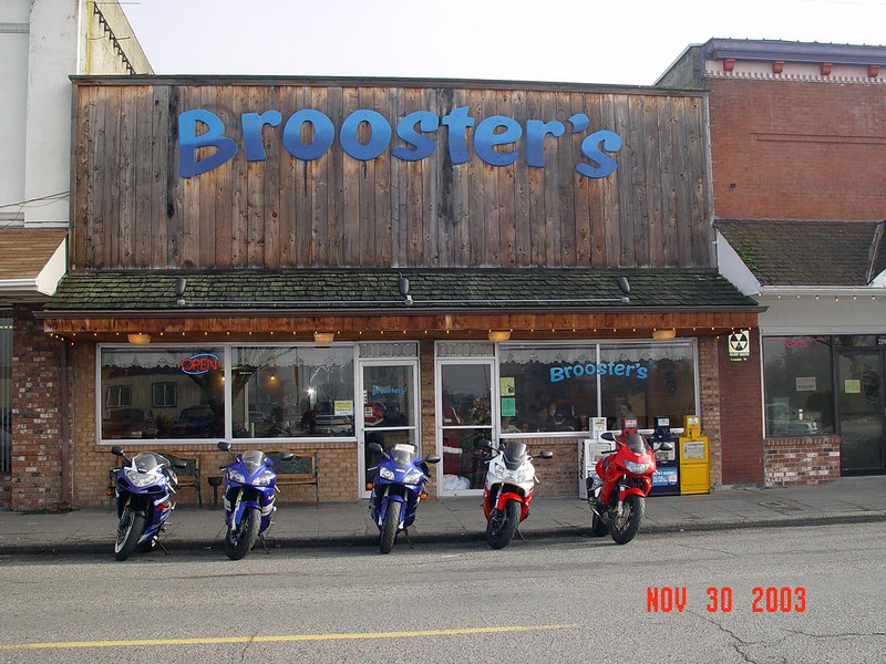 Our Sport Bikes, in front of Brooster's, we had a good breakfast here before setting out on our ride.