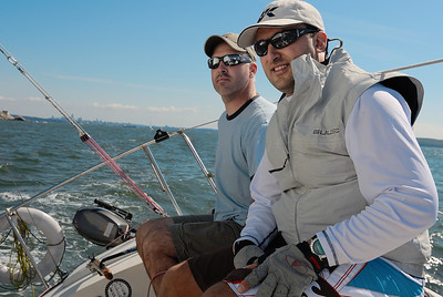 Jason and Adrian on Inaugural Sail on Jason's newly acquired Olson 30