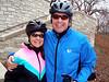 Susie and John Koleas stay warm.