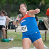 Florida finished 1st, 2nd and 8th place at the Women's Shot Put Memorial Classic on Saturday, April 21, 2012 at the Percy Beards Track at James G. Pressly Stadium in Gainesville, Fla. / Gator Country photo by Saj Guevara