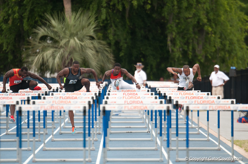 Florida finished 7th place at 110 meter hurdles during the Tom Jones Memorial Classic on Saturday, April 21, 2012 at the Percy Beards Track at James G. Pressly Stadium in Gainesville, Fla. / Gator Country photo by Saj Guevara