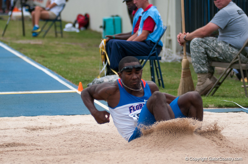 Florida finished 5th and 6th place at the Men's Long Jump during the Tom Jones Memorial Classic on Saturday, April 21, 2012 at the Percy Beards Track at James G. Pressly Stadium in Gainesville, Fla. / Gator Country photo by Saj Guevara