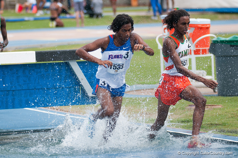 Florida finished 3rd and 4th place at the Men's 3000m Steeplechase during the Tom Jones Memorial Classic on Saturday, April 21, 2012 at the Percy Beards Track at James G. Pressly Stadium in Gainesville, Fla. / Gator Country photo by Saj Guevara