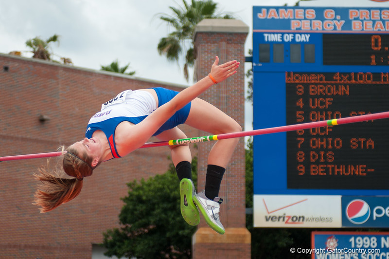 Florida's Taylor Burke finished 1st place at the Women's high Jump during the Tom Jones Memorial Classic on Saturday, April 21, 2012 at the Percy Beards Track at James G. Pressly Stadium in Gainesville, Fla. / Gator Country photo by Saj Guevara