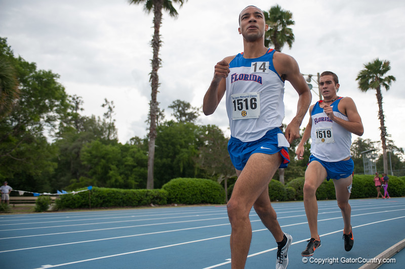 Florida Eddie Garcia finished 2nd place at Men's 3000m during the Tom Jones Memorial Classic on Saturday, April 21, 2012 at the Percy Beards Track at James G. Pressly Stadium in Gainesville, Fla. / Gator Country photo by Saj Guevara