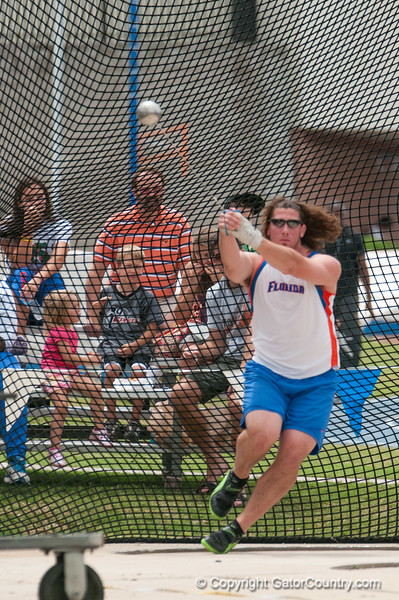 Florida David Levin thre 3 fouls at the Men's Hammer throw during the Tom Jones Memorial Classic on Saturday, April 21, 2012 at the Percy Beards Track at James G. Pressly Stadium in Gainesville, Fla. / Gator Country photo by Saj Guevara