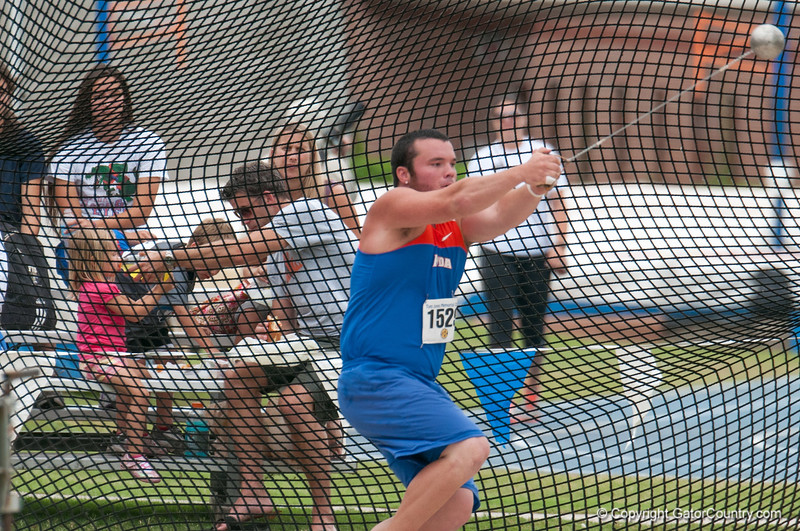 Florida Jeremy Postin finished 1st place at the Men's Hammer throw during the Tom Jones Memorial Classic on Saturday, April 21, 2012 at the Percy Beards Track at James G. Pressly Stadium in Gainesville, Fla. / Gator Country photo by Saj Guevara