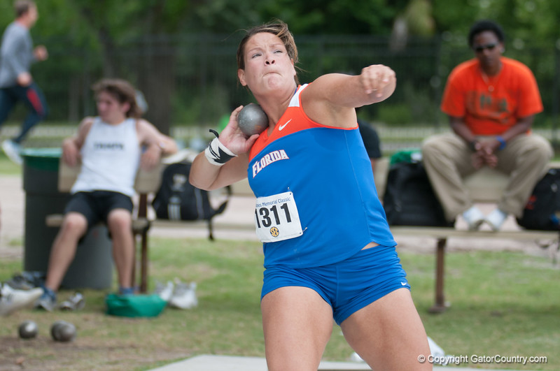 Florida Keely Medeiros finished 1st place at the Women's Shot Put Memorial Classic on Saturday, April 21, 2012 at the Percy Beards Track at James G. Pressly Stadium in Gainesville, Fla. / Gator Country photo by Saj Guevara