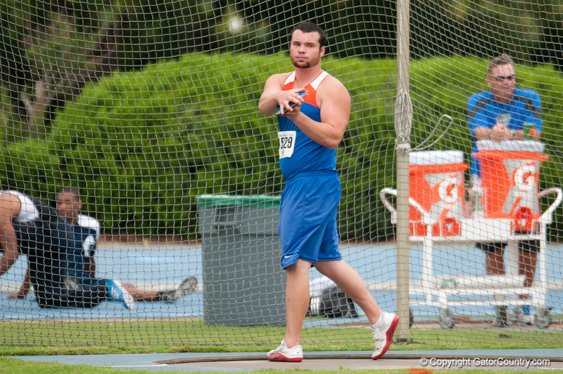 Florida Jeremy Postin finished 7th place at Men's Discus during the Tom Jones Memorial Classic on Saturday, April 21, 2012 at the Percy Beards Track at James G. Pressly Stadium in Gainesville, Fla. / Gator Country photo by Saj Guevara