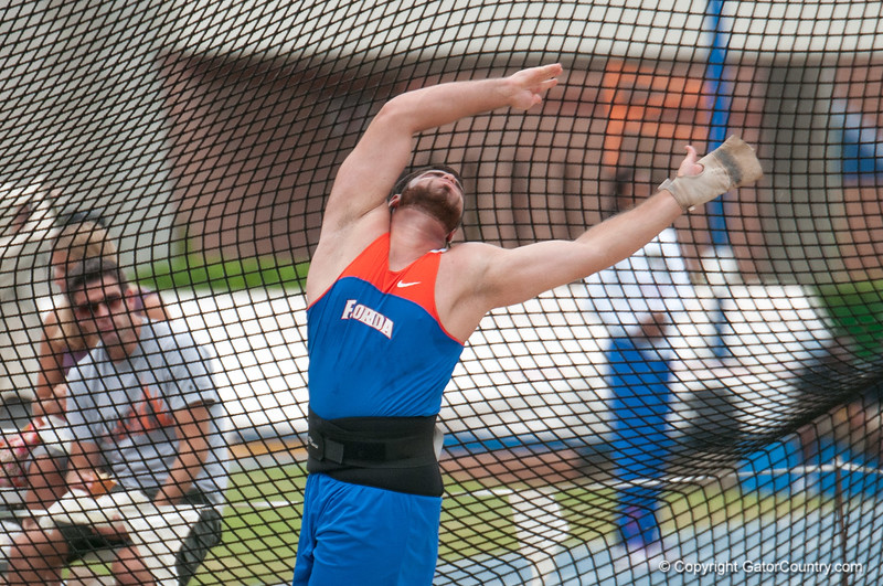 Florida David Triassi finished 3rd place at the Men's Hammer throw during the Tom Jones Memorial Classic on Saturday, April 21, 2012 at the Percy Beards Track at James G. Pressly Stadium in Gainesville, Fla. / Gator Country photo by Saj Guevara