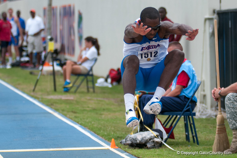 Florida Omar Craddock finished 5th place at the Men's Long Jump during the Tom Jones Memorial Classic on Saturday, April 21, 2012 at the Percy Beards Track at James G. Pressly Stadium in Gainesville, Fla. / Gator Country photo by Saj Guevara
