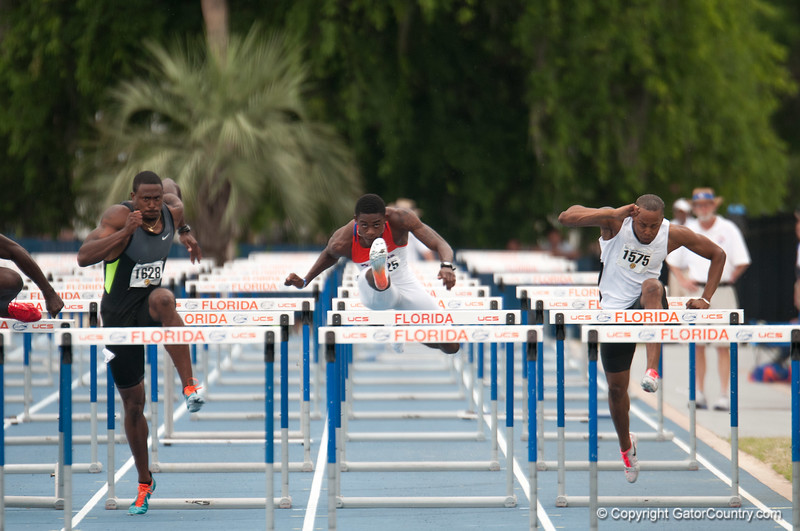 Florida Eddie Lovett finished 7th place at 110 meter hurdles during the Tom Jones Memorial Classic on Saturday, April 21, 2012 at the Percy Beards Track at James G. Pressly Stadium in Gainesville, Fla. / Gator Country photo by Saj Guevara