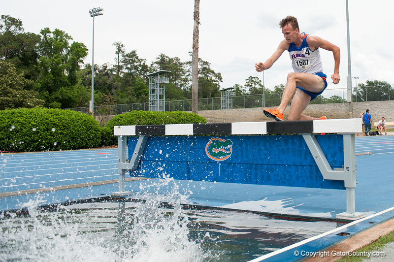 Florida Michael Anderson finished 3rd place at the Men's 3000m Steeplechase during the Tom Jones Memorial Classic on Saturday, April 21, 2012 at the Percy Beards Track at James G. Pressly Stadium in Gainesville, Fla. / Gator Country photo by Saj Guevara