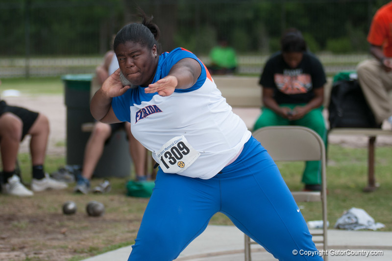 Florida Arlithia Mackey 8th place at the Women's Shot Put Memorial Classic on Saturday, April 21, 2012 at the Percy Beards Track at James G. Pressly Stadium in Gainesville, Fla. / Gator Country photo by Saj Guevara