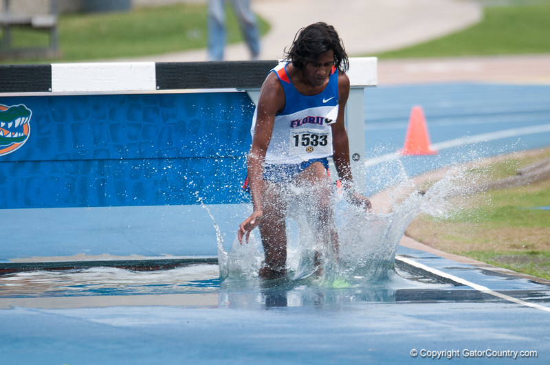 Florida Harsha Torke finished 4th place at the Men's 3000m Steeplechase during the Tom Jones Memorial Classic on Saturday, April 21, 2012 at the Percy Beards Track at James G. Pressly Stadium in Gainesville, Fla. / Gator Country photo by Saj Guevara