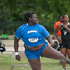 Florida Fidela James finished 2nd place at the Women's Shot Put Memorial Classic on Saturday, April 21, 2012 at the Percy Beards Track at James G. Pressly Stadium in Gainesville, Fla. / Gator Country photo by Saj Guevara