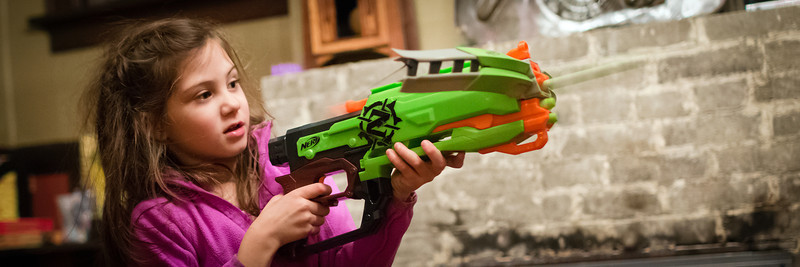 Today I took Freja shopping for toys as she still had a lot of money left over from both Christmas and her birthday that Papa had gifted her. She wanted some Nerf guns she'd seen on TV, and I have to admit I thought they were kind of fun looking. <br /> <br /> We set up some targets on the inside of the pocket door into the den. The rest of the night was literally a BLAST!