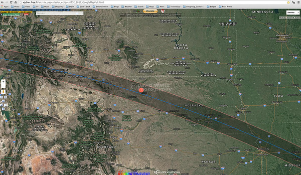 Nebraska Google Map of the Eclipse Path of Totality