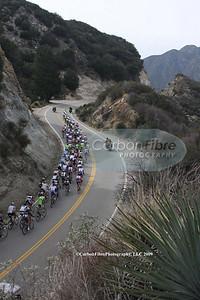 Stage 7-Peloton ascends Tujunga Canyon